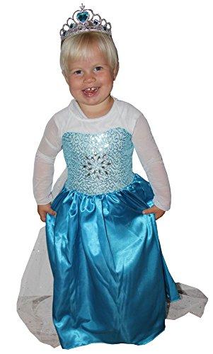 s Prinzessin Kostüm mit Schleppe für Mädchen | Größe 86 - 140 | Schneeflocke Eis Blau Mädchenkostüm Kinderkostüm Glanz Kleid Lang Schleier Märchen, Größe:110/116 (Schneeflocke Kostüm Mädchen)