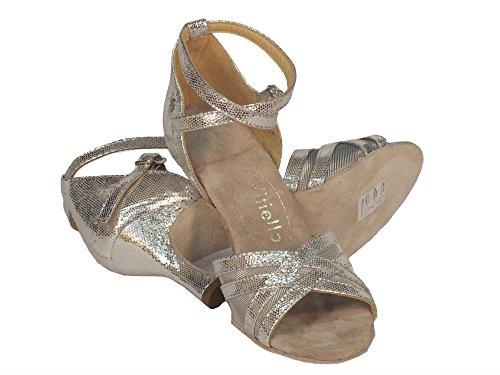 Vitiello Dance Shoes  Sandalo L.a. Satinato Argento, Damen Tanzschuhe Silber / Schwarz