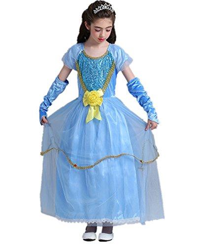 Beunique Prinzessin Kostüm Karneval Gelb Taille Blumen Party Cosplay Kleid Mädchen (Kostüm Del Mieten Boy)