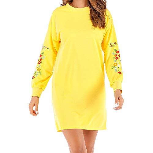 Vestidos de Fiesta Mujer,Vestido de la Camiseta del Bordado Floral de la Manga Larga Ocasional de Las Mujeres del otoño de Las Mujeres Vestidos Mujer Casual Invierno QINGXIA_ZI (Amarillo, XL)