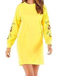 Vestidos de Fiesta Mujer, Vestido de la Camiseta del Bordado Floral de la Manga Larga Ocasional de Las Mujeres del otoño de Las Mujeres Vestidos Mujer ...