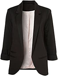 VOBAGA Womens Roll Up 3/4 Sleeve Open Front Slim Fit Casual Blazer Jacket Suit