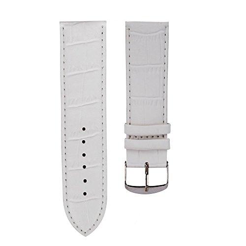 IG-Invictus 18mm Hochwertiges weiches Schweißband Lederband Stahlschnalle Armbanduhr WH 18mm Bambus Muster Lederband Weiß Migel