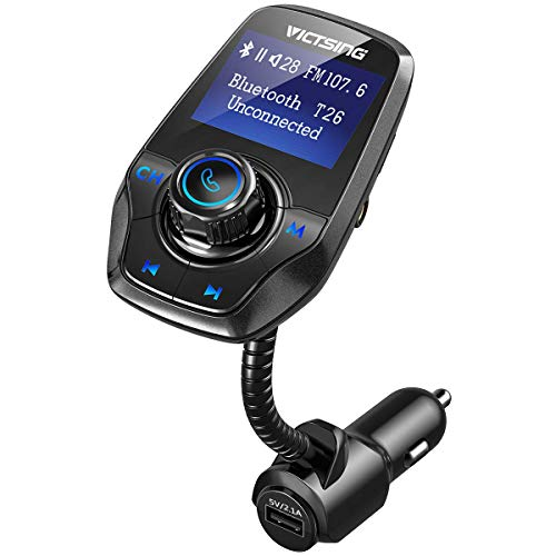 """VICTSING Manos Libres Bluetooth Coche Transmisor FM, Radio Musica Receptor Altavoz Bluetooth FM, Reproductor de MP3 Transmitter, 1.44\"""" LCD, 5V/2.1A USB, Tarjeta del TF-Negro"""