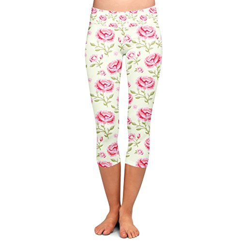 Queen of Cases Pink Roses with Green Leaves Yoga Capri Leggings - 3XL (Green Queens Leaf)
