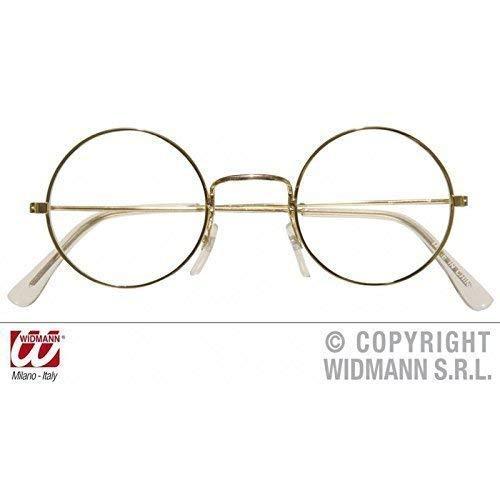 Brille mit goldenem Metallrahmen rund