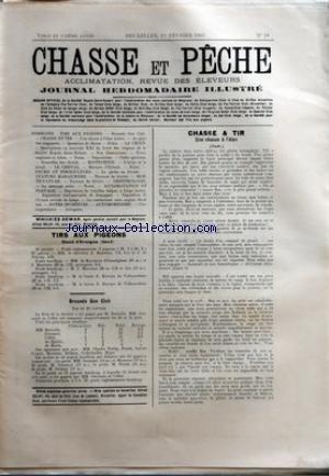 CHASSE ET PECHE [No 18] du 01/02/1903 - TIRS AUX PIGEONS - STAND D'EVERGEM - BRUSSELS GUN CLUB - CHASSE ET TIR - UNE CHASSE A L'ELAN - LA CHIENNE SETTER ANGLAIS PRINCESSE STROUF A M. F. DE LA KETHULLE DE RYHOVE par Collectif