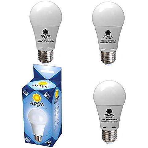 ATAPA 3 bombillas LED A60 10W, Edison base E27, 850 lumen, 70W equivalente, 270° ángulo de haz, 3000 Kelvin blanco cálido, iluminación para duchas, cuartos de baño, cocinas, salones, porches,