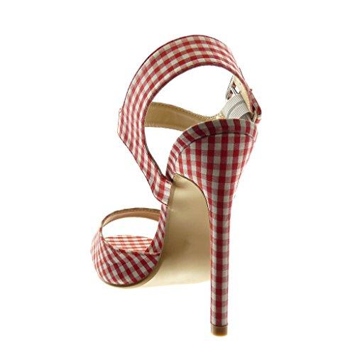 162df42c82ff5d Escarpin Haut Chaussure Mode Sandale Stiletto Aiguille 13 Lanière Talon  Cheville Angkorly Rouge Cm Femme Vichy ...