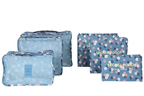 6pcs/set impermeabile vestiti Storage Bags imballaggio Cube valigia da viaggio borsa Organizer nero Light Blue Daisy