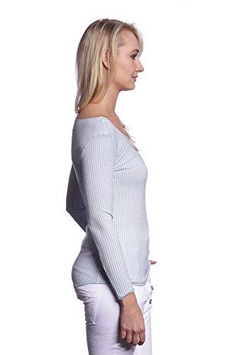 Abbino IG001 Chemisiers Blouses Tops Femmes Filles - Fabriqué en Italie - Plusieurs Couleurs - Transition Automne Hiver Confortable Elegant Chic Branche Promotion Chaud Mode Tendance Flexible Bleu (Art. 7021-3C)