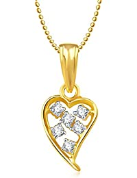 Valentine Gifts Meenaz Heart Pendant With Chain Gold Plated For Girls And Women PS184