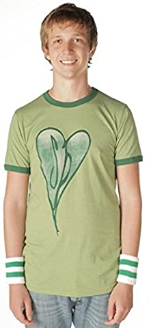 The Smashing Pumpkins Distressed Heart Heather Green Adult T-shirt Tee (Large)