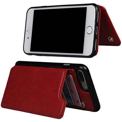 """xhorizon TM Housse de portefeuille antidéflagrant durable, étui en cuir de luxe Folio porte-monnaie avec fente de soutien de carte de crédit pour iPhone 7 Plus [5.5""""] avec 9H film de protection verre  rouge + 9H Glas Film"""