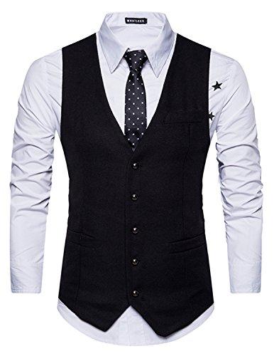 Leisure Herren Anzugweste Gentleman Basic Mode Einreiher Fünf Knöpfe Weste Schwarz