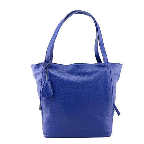 Sac Shopper En Cuir Véritable Couleur Bleue - Maroquinerie Fait En Italie - Sac Femme