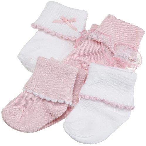 Luvable Friends, confezione da 4ragazze rosa e bianco a coste Calze con bordo smerlato e pizzo rosa rosa 18 - 36 mesi