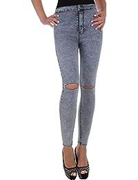 BD Damen Super Stretch Hight Waist Röhren Jeans Hose in schwarz grau mit Waschung und Riss
