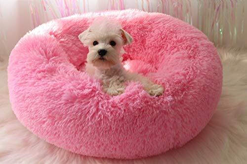 SUNGL Haustier Zwinger für Katzen und kleine mittelgroße Hunde Bett mit einem weichen Kissen Runde oder ovale Nistkasten/Bett für Haustiere in Donutform
