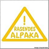 cartattoo4you AK-01014   RASENDES Alpaka   K-Serie   Autoaufkleber Aufkleber Car Sticker Farbe Gelb,in 23 Farben erhältlich,glänzend 13 x 10 cm Waschstrassenfest Versandkostenfrei