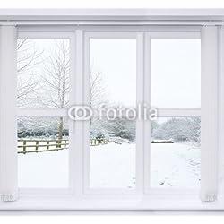 De nieve de escena de la ventana (70530983), aluminio-Dibond, 60 x 60 cm