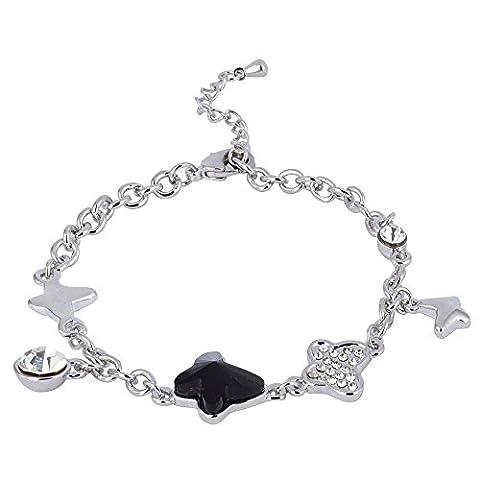 """Swarovski Elements Bracelet """"Butterfly"""" Noir Rhodium Plaqué - Cadeau Idéal pour Femmes et Filles - Livré en Boîte Cadeau"""