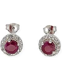 471851992e28 Pendientes de plata redondos con circonitas y rubíes