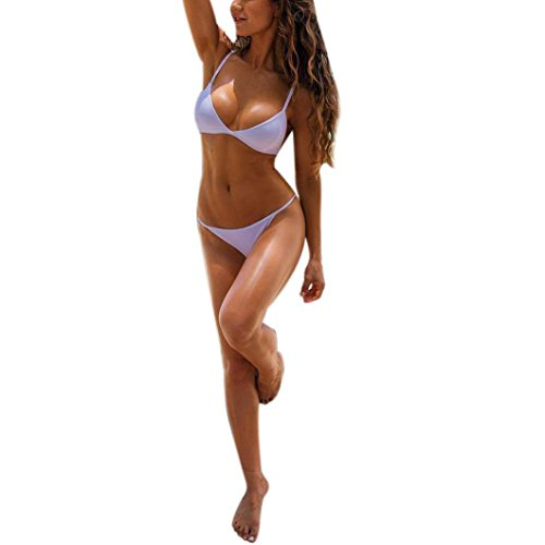 Elecenty Damen Bademode,Badeanzug Badebekleidung Bikini sets Strandkleidung Push Up Bh Badeanzug Reizvolle Frauen Bathing Briefs Suit Sommer Solide Zweiteilig Bikinioberteil Beachwear (L, Weiß) (Xo 112)