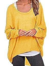 Rosennie Damen Oversize Oberteile Tshirt Pullover Frauen Langarm Baggy  Shirts Fledermaus Ärmel Pullover Plus Size Sweatshirt a4b3e9b5b0