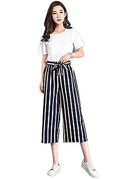 Faraw Las Mujeres del Verano a Rayas Pierna Ancha Cintura Alta Gasa Pantalones de Gran Tamaño Siete Pantalones