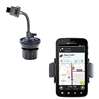 Dual Purpose Adjustable Compact Auto Cupholder Mount and Flexible Windshield Suction Mount for Motorola Atrix Refresh