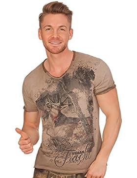 Trachten Herren Shirt - Bryce - Braun