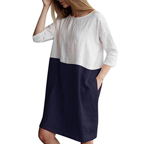 TEBAISE Mid Season Mode Frauen Outdoor Dating Home Party Casual Patchwork 1/2 Ärmeln Baumwolle Leinen Lose Taschen Tunika Kleid Rock(Marine,EU-46/CN-L)