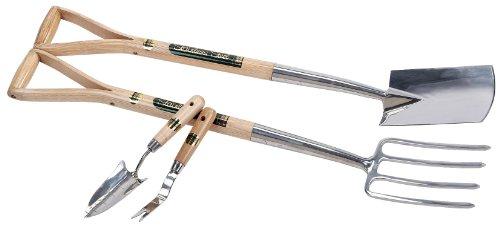 Jeu de fourche / bêche de bordure en acier inoxydable plus truelle de repiquage / sarcloir Draper Expert 10347