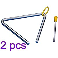 Demarkt Musik Triangel aus Stahl für Schule Kinder Früherziehung mit Schlägel 4 Zoll (Silberfarbe 2 Stück)