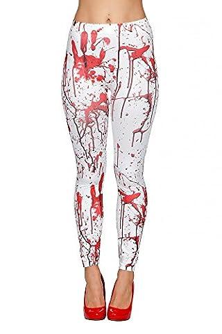 Leggings mit Blutspritzern Weiß Rot für Halloween Hose blutig Horror Accessoire (Blutige Kettensäge)
