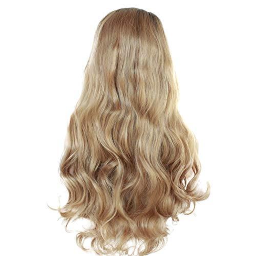 Beladla wigs - parrucca bionda lunga capelli veri anche per cosplay, lunga, folta, con riccioli ampi, fibra resistente alle alte temperature diverse lunghezze10-28 pollici