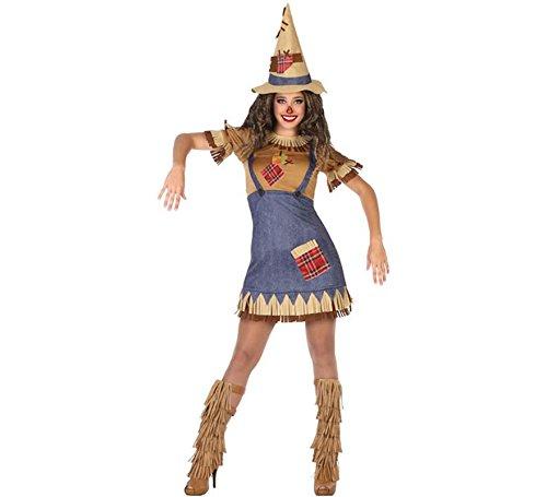 ATOSA 54495 Vogelscheuche Kostüm für die Dame Costume Scarecrow XS-S, Blau/Beige