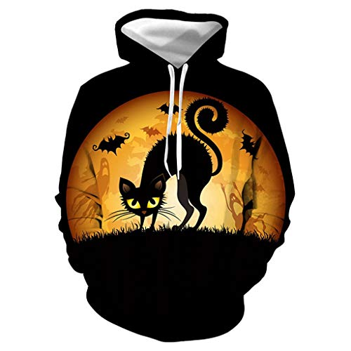 Halloween 3D Pullover Cat Hoodie Couple Shirt Langarm Sweatshirt LäSsige Top Terror-Blusen Casual Oberteile,S-3XL (Halloween Horror Nights 24-t-shirts)