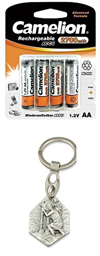 Preisvergleich Produktbild Zisaline-Kombi AKKU NI-MH AA 2700MAH 4ER PACK (91498849061) mit Anhänger Hlg. Christophorus