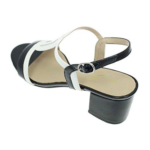 Lunar Clarke. Sandale Style En Forme De T Avec Talon Bloc Noir & Brevet Blanc Black/White