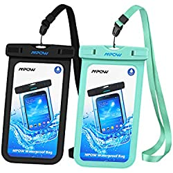Mpow Funda Móvil Impermeable,Funda Bolsa Impermeable IPX8 para Móvil Universal de 6 Pulgadas para iPhone XS/XS MAX/X/8/8 Plus/7/7 Plus,Huawei, BQ Aquaris,Sony,Galaxy S9/S8/S7(Negro/Verde)