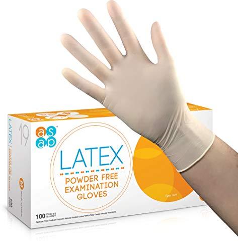 ASAP Latex Puderfreie Untersuchungshandschuhe, Weiß (Polymerbeschichtet) - Box 100 - Zahnmedizinisch, Labor, Pflege ... (S/Klein)