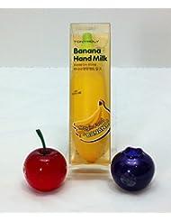 TonyMoly Fruit Shaped Banana Hand Milk and Mini Berry Lip Balm Flavors Cherry and Blueberry (SPF15/PA+) by TONYMOLY