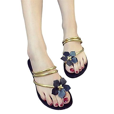 Good Night Women Straps Flower Slippers Toe Ring Roman Flat Sandals Flip Flops, Various Color