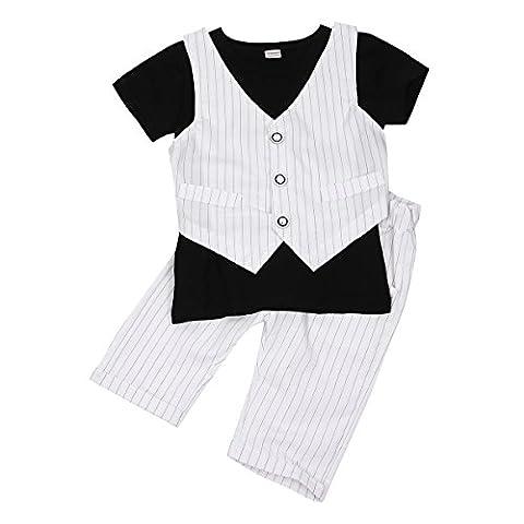 IINIIM 2PC Costume Été BéBé Enfant Garçon Coton Rayé Haut T-shirt Gilet+Shorts Baptême Chemise Tee Pantalon Mignon Set Taille Blanc&Noir 12 Mois-6 Ans Blanc 3-4 Ans