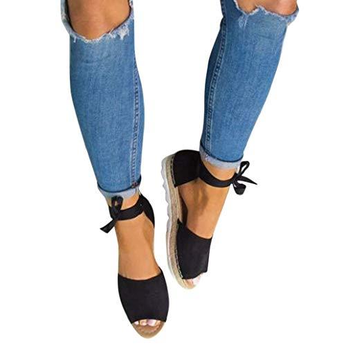 Bluelucon Sandalen Damen Sommer Schuhe Mit Absatz Offene Sandaletten Freizeit Plateau Espadrilles Strandschuhe Riemchensandalen (Babys Halloween-kostüme Sie Zu Hause Für Machen)