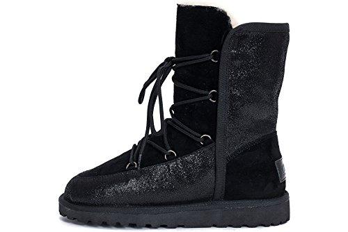 OZZEG lacets hiver bottes neige chaussures en peau de mouton laine doublure femmes Noir
