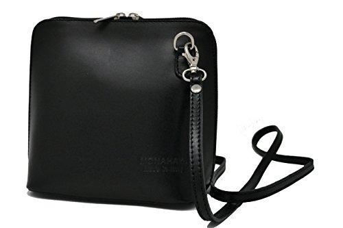 MONAHAY italienische Leder Hand gemacht klein / Micro Cross Body Bag oder Schultertasche Handtasche (schwarz) (Handtasche Schwarze Mini)