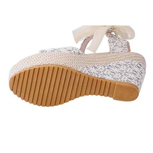 Minetom Donna Estate Elegante Sandali Testa Dei Pesci Scarpe Stringate Col Tacco Alto Focaccina Crosta Spessa Infradito Bianco